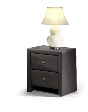 Yöpöytä-musta-nahka